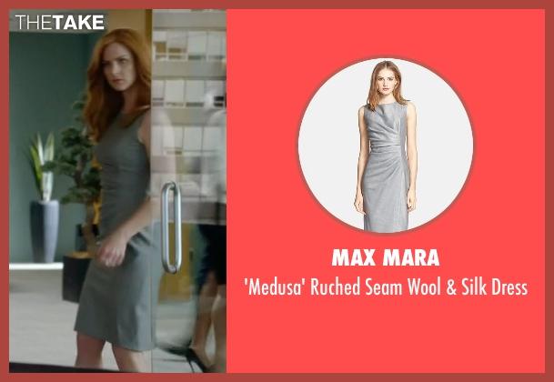 Max Mara gray dress from Suits seen with Donna Roberta Paulsen (Sarah Rafferty)