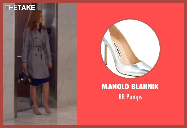 Manolo Blahnik gray pumps from Suits seen with Donna Roberta Paulsen (Sarah Rafferty)