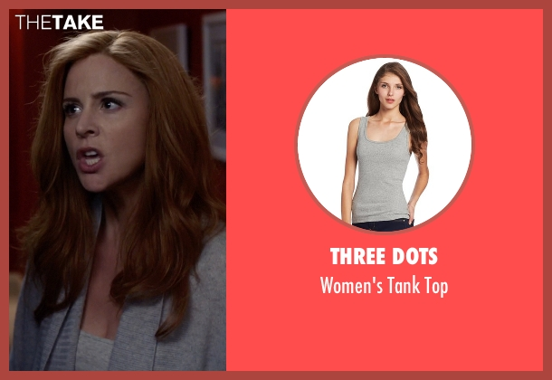 Three Dots gray top from Suits seen with Donna Roberta Paulsen (Sarah Rafferty)