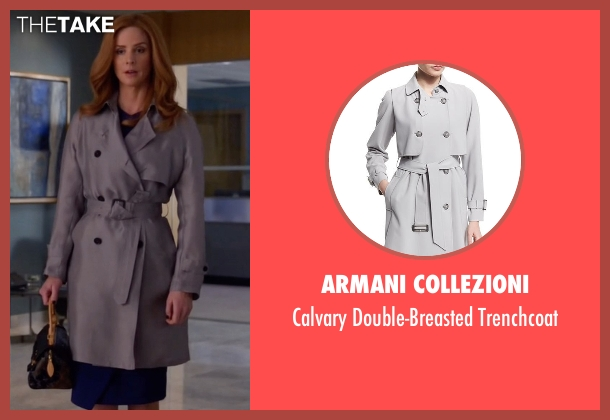 Armani Collezioni gray trenchcoat from Suits seen with Donna Roberta Paulsen (Sarah Rafferty)