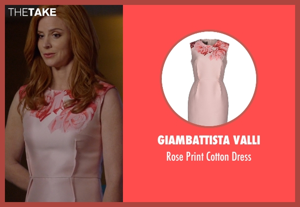 Giambattista Valli pink dress from Suits seen with Donna Roberta Paulsen (Sarah Rafferty)