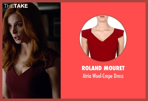 Roland Mouret red dress from Suits seen with Donna Roberta Paulsen (Sarah Rafferty)
