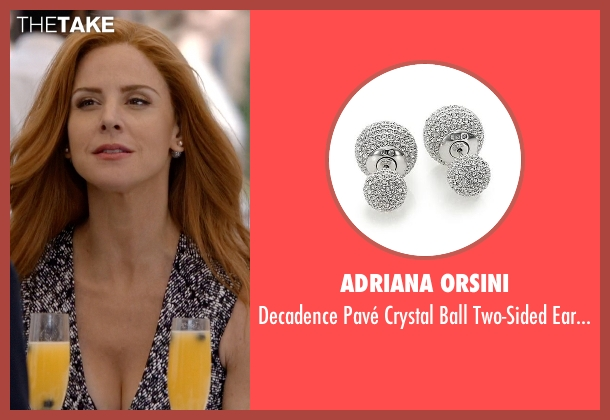 Adriana Orsini silver earrings from Suits seen with Donna Roberta Paulsen (Sarah Rafferty)