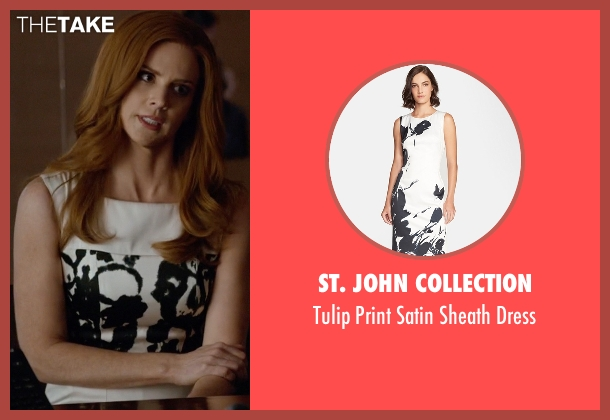 St. John Collection white dress from Suits seen with Donna Roberta Paulsen (Sarah Rafferty)