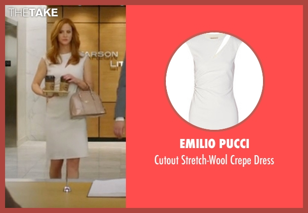 Emilio Pucci white dress from Suits seen with Donna Roberta Paulsen (Sarah Rafferty)