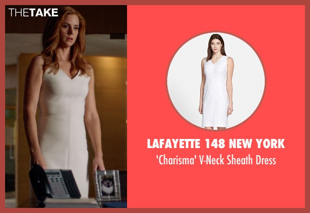 Lafayette 148 New York white dress from Suits seen with Donna Roberta Paulsen (Sarah Rafferty)
