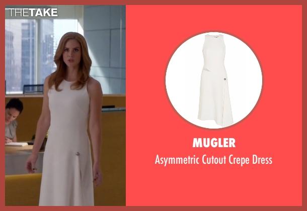 Mugler white dress from Suits seen with Donna Roberta Paulsen (Sarah Rafferty)