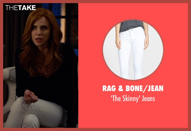 Rag & Bone/Jean white jeans from Suits seen with Donna Roberta Paulsen (Sarah Rafferty)