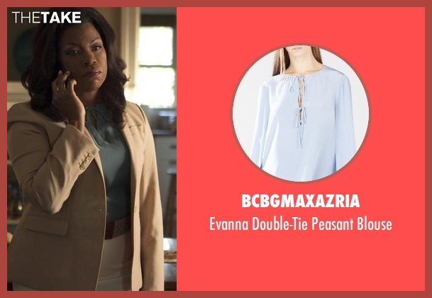 BCBGMAXAZRIA blue blouse from Rosewood seen with Donna Rosewood (Lorraine Toussaint)