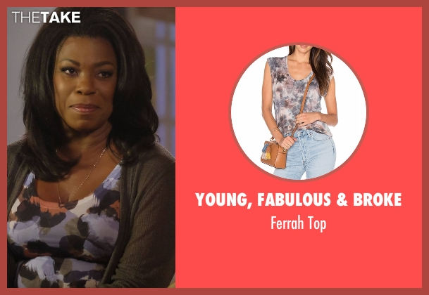 Young, Fabulous & Broke blue top from Rosewood seen with Donna Rosewood (Lorraine Toussaint)