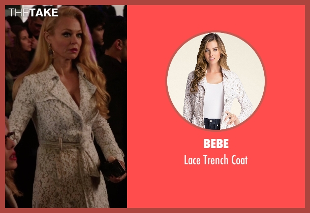 Bebe white coat from Arrow seen with Donna Smoak (Charlotte Ross)