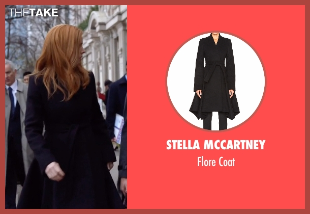Stella Mccartney black coat from Suits seen with Donna (Sarah Rafferty)