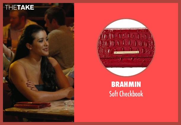 Brahmin red checkbook from Hall Pass seen with Doris Morgado (Latino Woman # 1)