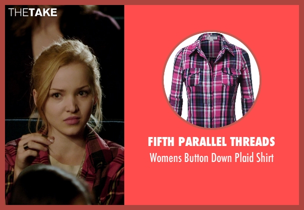 Fifth Parallel Threads red shirt from Barely Lethal seen with Dove Cameron (Liz Larson)