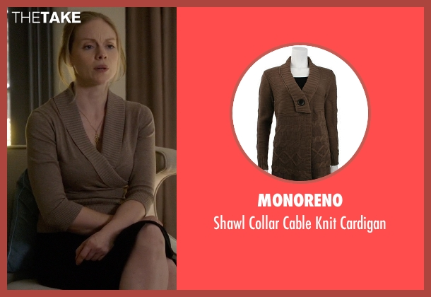 Monoreno brown cardigan from Suits seen with Dr. Agrard (Christina Cole)