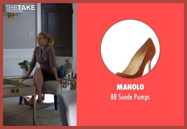 Manolo brown pumps from Suits seen with Dr. Agrard (Christina Cole)
