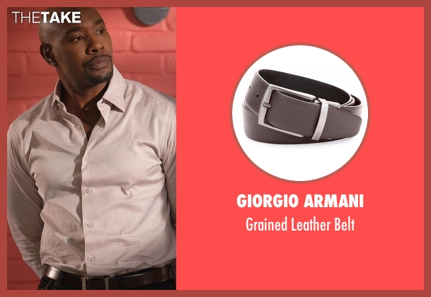 Giorgio Armani brown belt from Rosewood seen with Dr. Beaumont Rosewood, Jr. (Morris Chestnut)