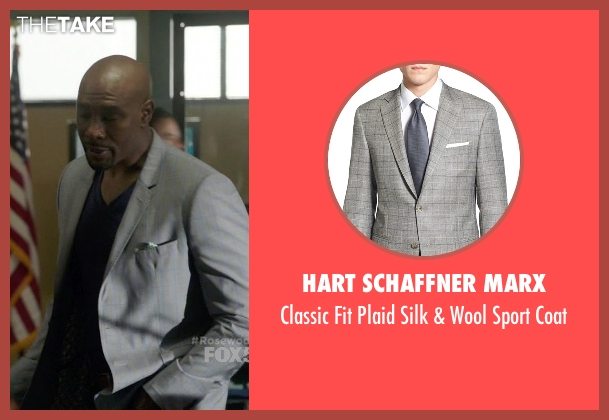 Hart Schaffner Marx gray coat from Rosewood seen with Dr. Beaumont Rosewood, Jr. (Morris Chestnut)