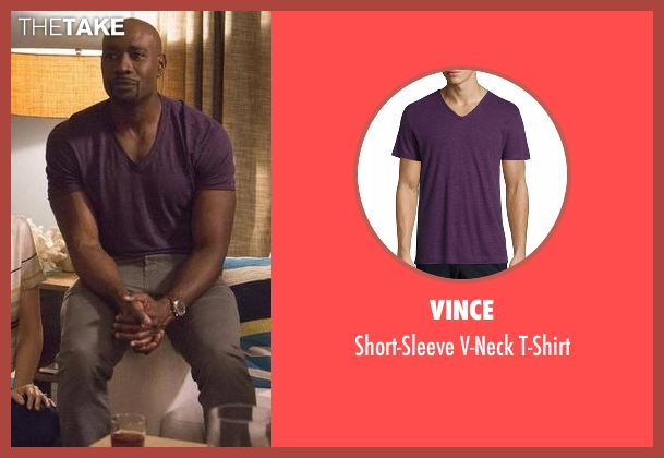 Vince purple t-shirt from Rosewood seen with Dr. Beaumont Rosewood, Jr. (Morris Chestnut)
