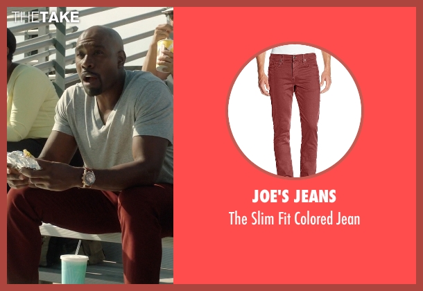 Joe's Jeans red jean from Rosewood seen with Dr. Beaumont Rosewood, Jr. (Morris Chestnut)