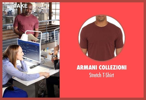 Armani Collezioni red t-shirt from Rosewood seen with Dr. Beaumont Rosewood, Jr. (Morris Chestnut)