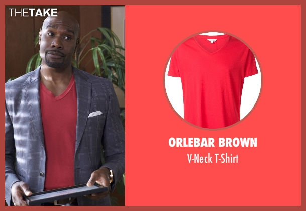 Orlebar Brown red t-shirt from Rosewood seen with Dr. Beaumont Rosewood, Jr. (Morris Chestnut)
