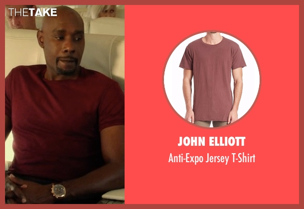 John Elliott red t-shirt from Rosewood seen with Dr. Beaumont Rosewood, Jr. (Morris Chestnut)