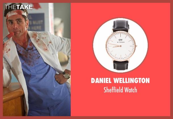 Daniel Wellington black watch from Scream Queens seen with Dr. Brock Holt (John Stamos)