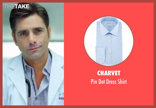 Charvet blue shirt from Scream Queens seen with Dr. Brock Holt (John Stamos)