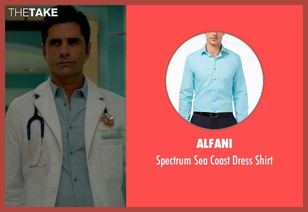 Alfani blue shirt from Scream Queens seen with Dr. Brock Holt (John Stamos)