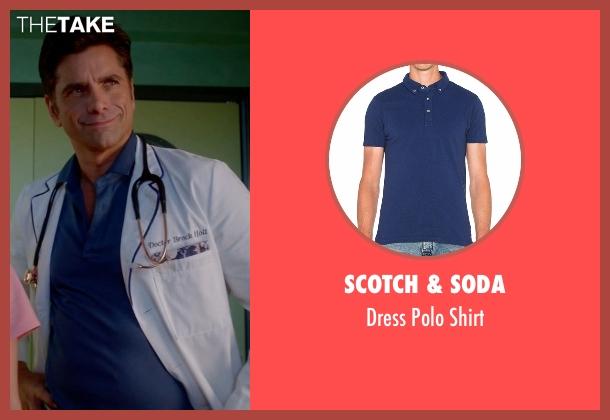 Scotch & Soda blue shirt from Scream Queens seen with Dr. Brock Holt (John Stamos)
