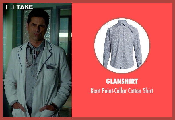 Glanshirt blue shirt from Scream Queens seen with Dr. Brock Holt (John Stamos)