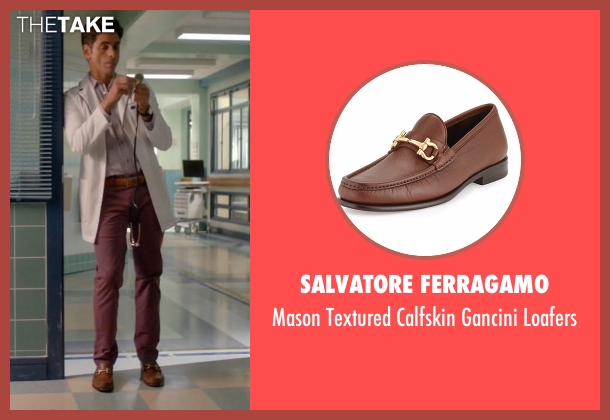 Salvatore Ferragamo brown loafers from Scream Queens seen with Dr. Brock Holt (John Stamos)