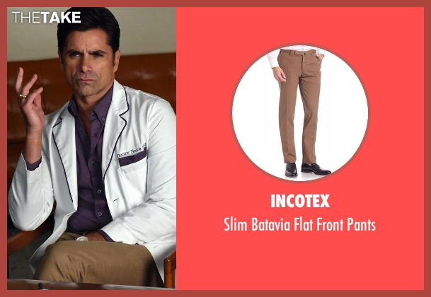 Incotex brown pants from Scream Queens seen with Dr. Brock Holt (John Stamos)