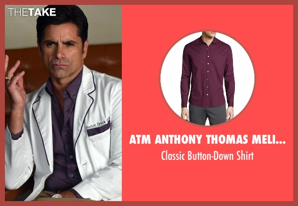 ATM Anthony Thomas Melillo purple shirt from Scream Queens seen with Dr. Brock Holt (John Stamos)