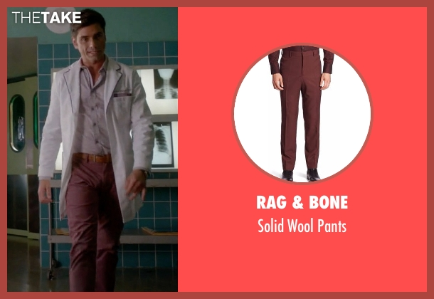 Rag & Bone red pants from Scream Queens seen with Dr. Brock Holt (John Stamos)
