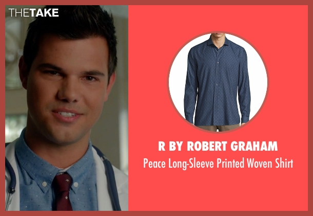 R by Robert Graham blue shirt from Scream Queens seen with Dr. Cassidy Cascade (Taylor Lautner)