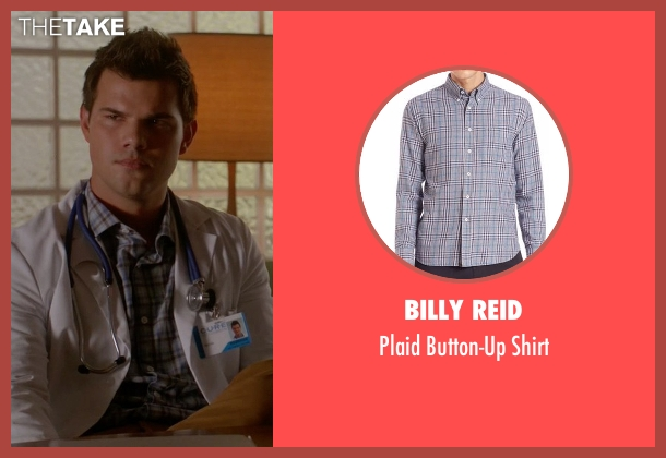 Billy Reid blue shirt from Scream Queens seen with Dr. Cassidy Cascade (Taylor Lautner)