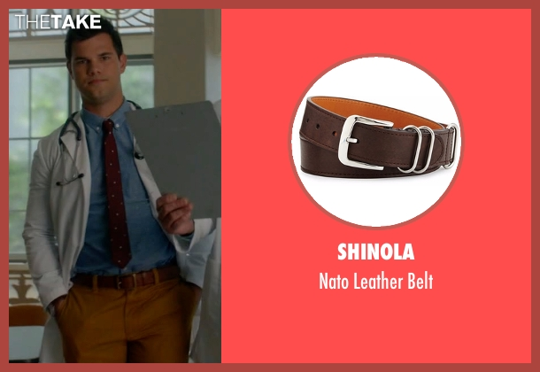 Shinola brown belt from Scream Queens seen with Dr. Cassidy Cascade (Taylor Lautner)