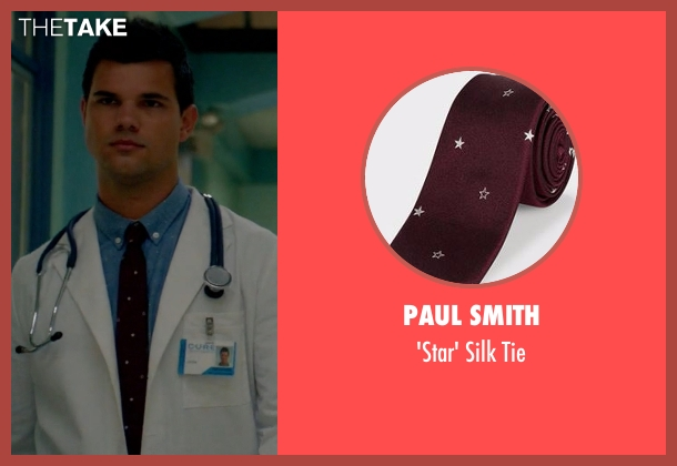 Paul Smith  red tie from Scream Queens seen with Dr. Cassidy Cascade (Taylor Lautner)