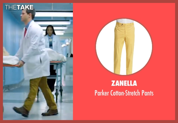 Zanella yellow pants from Scream Queens seen with Dr. Cassidy Cascade (Taylor Lautner)
