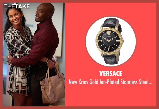 Versace black watch from Rosewood seen with Dr. Erica Kincaid (Joy Bryant)
