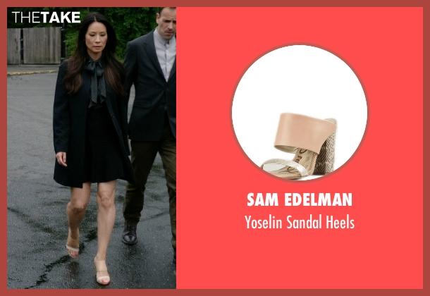 Sam Edelman beige heels from Elementary seen with Dr. Joan Watson (Lucy Liu)