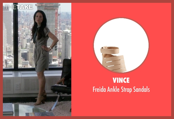 Vince beige sandals from Elementary seen with Dr. Joan Watson (Lucy Liu)
