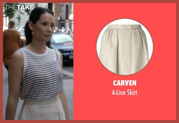 Carven beige skirt from Elementary seen with Dr. Joan Watson (Lucy Liu)