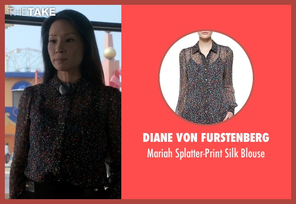 Diane von Furstenberg black blouse from Elementary seen with Dr. Joan Watson (Lucy Liu)