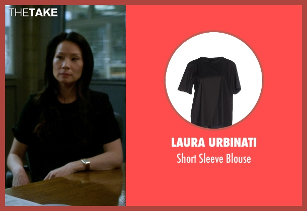 Laura Urbinati black blouse from Elementary seen with Dr. Joan Watson (Lucy Liu)