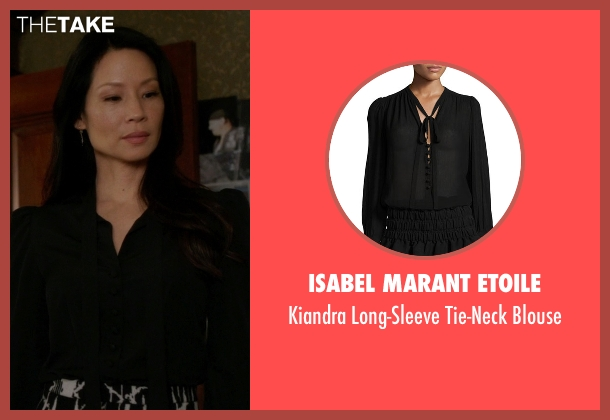 Isabel Marant Etoile black blouse from Elementary seen with Dr. Joan Watson (Lucy Liu)