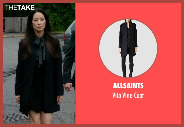Allsaints black coat from Elementary seen with Dr. Joan Watson (Lucy Liu)