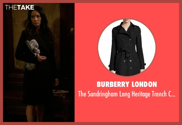 Burberry London black coat from Elementary seen with Dr. Joan Watson (Lucy Liu)